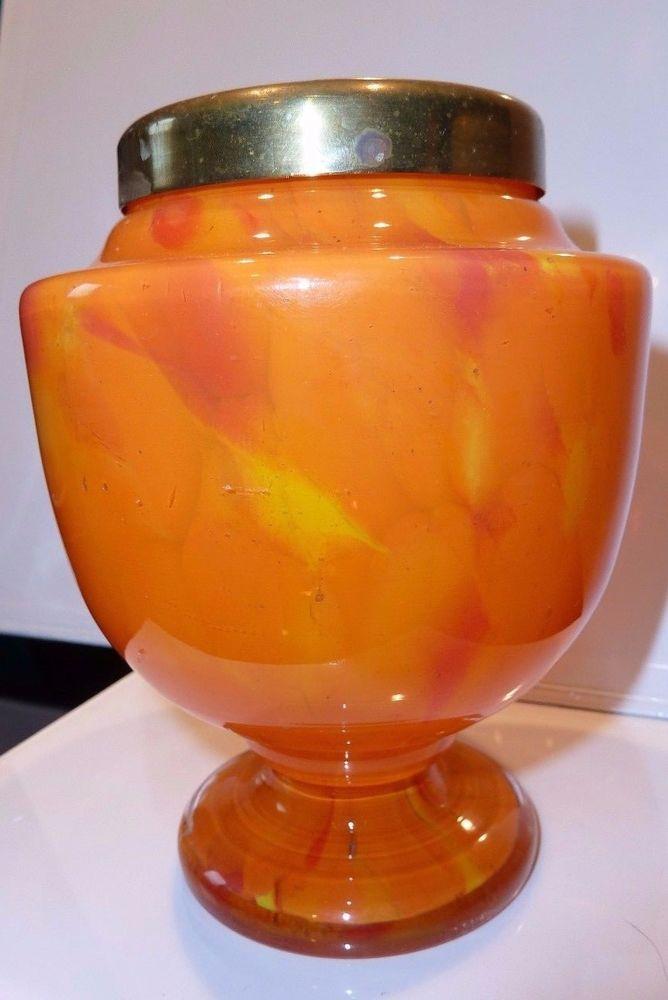 1930'S POSY VASE - BOHEMIAN ART DECO SPATTER GLASS - CZECH - BRASS FROG