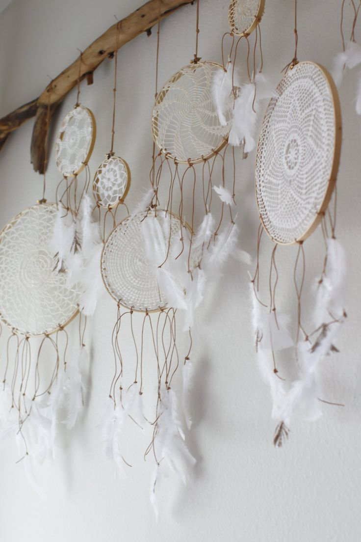 DIY doily dream catcher moble - over the bed as a headboard!