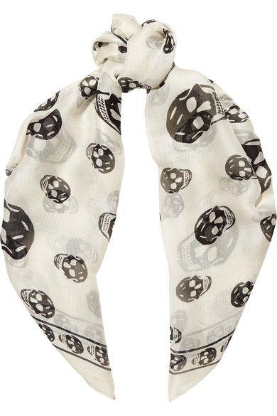 Alexander McQueen - Skull-print Silk-chiffon Scarf - White - one size