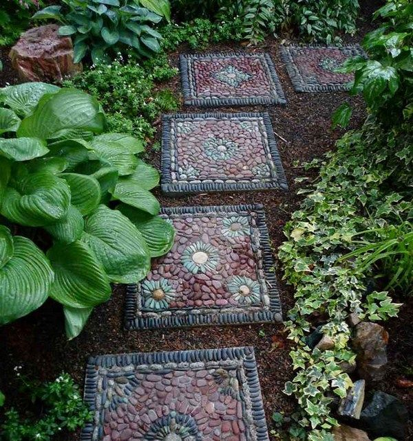 Pebble mosaic square occurs stone flower pattern inspiration