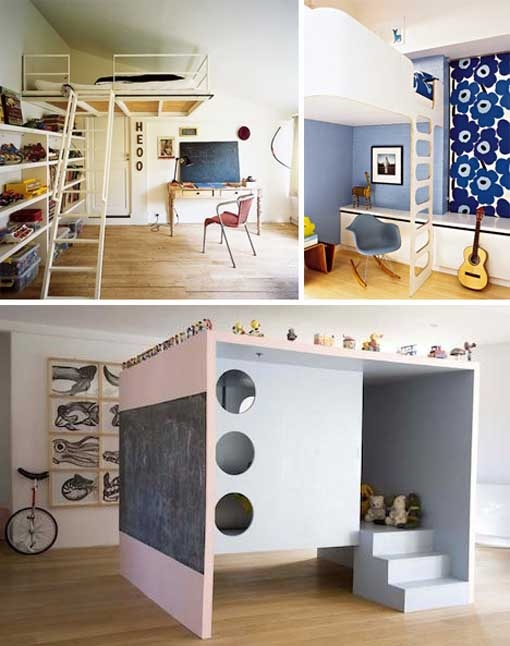 love the loft bed over the doorway, such a great way to maximize space