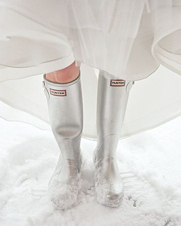 Silver Hunter boots for a winter wedding