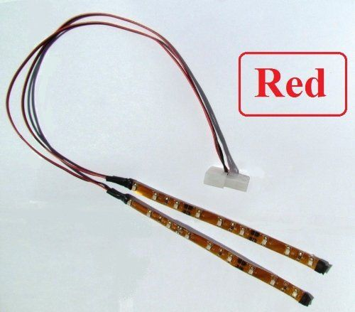 Red LED Lightstrip with Molex 4-Pin Pass-through Connector, Plug and Play Computer Case Mod by KAWLights. $19.99. This PC Case Mod Light has two ultra-bright 3528 SMD 6 inch Red LED strips,  each with a 15 inch tail (allowing you to place them virtually anywhere  in your PC case). Self-adhesive back with Adhesive 3M tape for secure and easy  application. Low Power consumption and temperature. This plug and play LED  case mod/accessory is ready to go into you P...