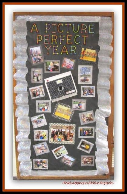 "End of Year ""Picture Perfect"" Bulletin Board via RainbowsWithinReach (decorated door)"