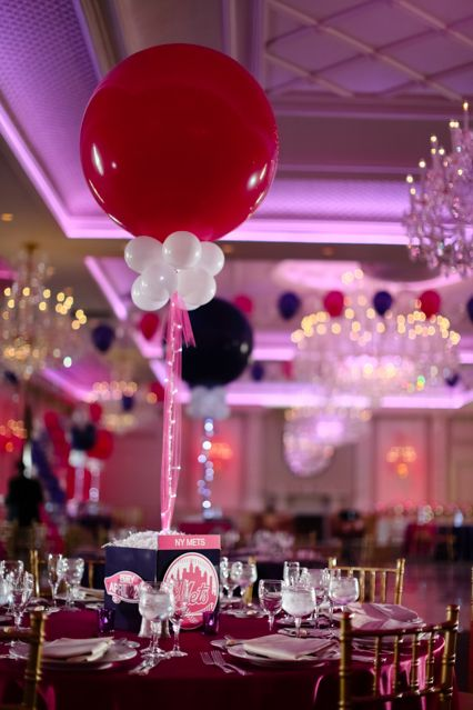 Everything girl themed bat mitzvah photo cube centerpieces