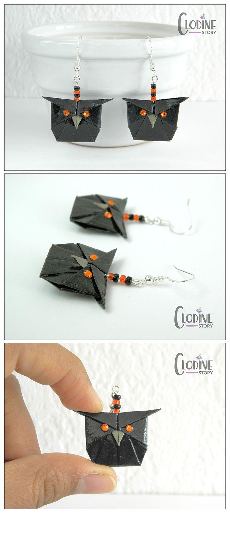 Black origami owl earrings, Origami owl, Owl jewelry, Bird, Paper jewelry, Halloween, Halloween jewelry, Origami earrings, Handmade, Cute, Kawaii