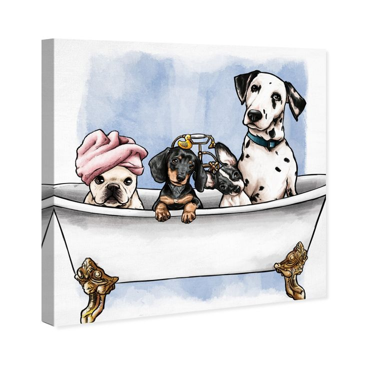 Pets In The Tub Wall Art Artwork Pets Dog Art Dog Art Art Graphic Art Print