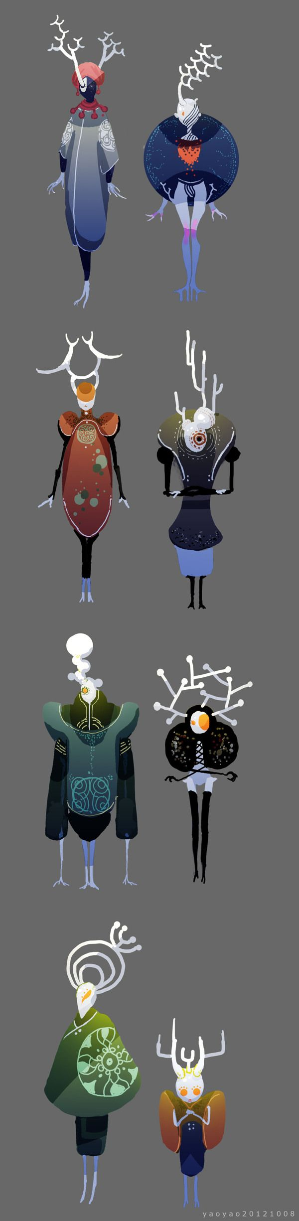 Character design and concept development - SHANLI - by yao yao are they based on cells? Molecules? Idk but it's cool