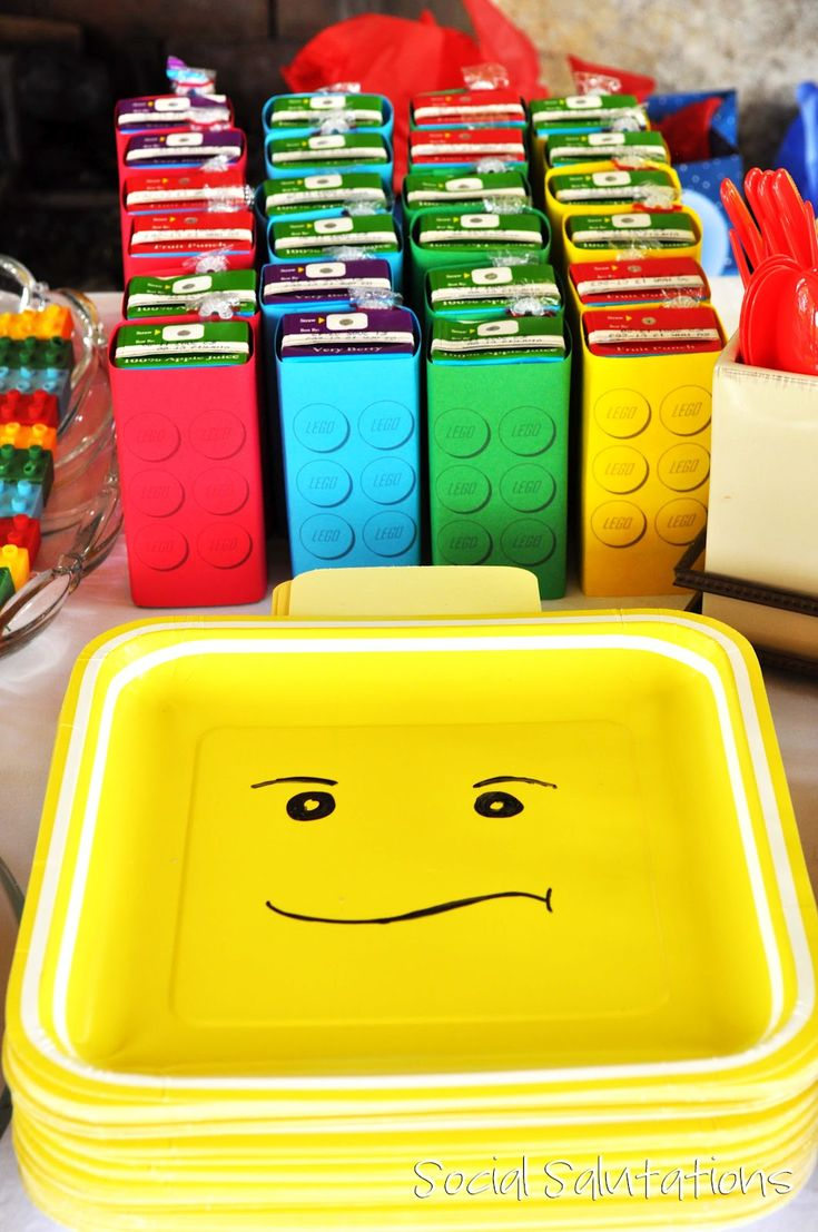 Lego Party ideas! Juice boxes turned into legos and yellow paper plates turned into lego men heads!