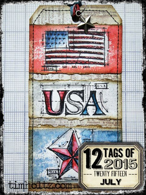 #patriotic #papercrafting - check out this celebratory #tag from @timholtz! It's from his 12 tags of 2015 series: July | www.timholtz.com