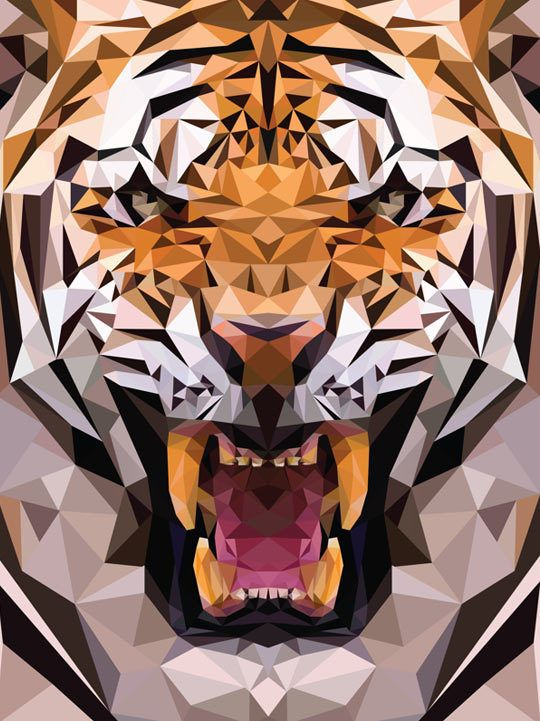 Illustration / Geometric Tiger Made From Triangles – The ...