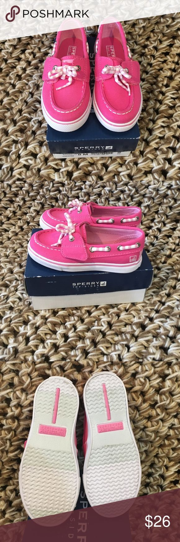 ❤️️Cutest Ever Pink and White Sperry Top-Sider's Cutest Ever Pink and White Sperry's Top-Sider's. Toddler size 8. Brand new, never been worn except for to try on in the store. There are some marks on the bottom from walking around the store. Sperry Top-Sider Shoes Sneakers