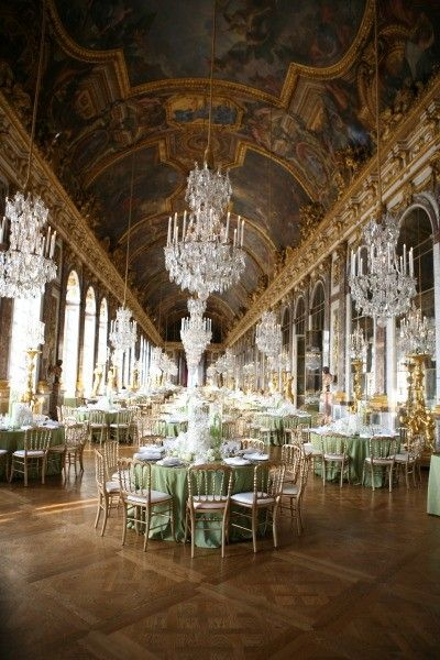 OMG! Imagine having you wedding here Versaille Palace in France just outside Paris where Louis 16th and Mary Antoinette lived! This is the hall of chandelieres!