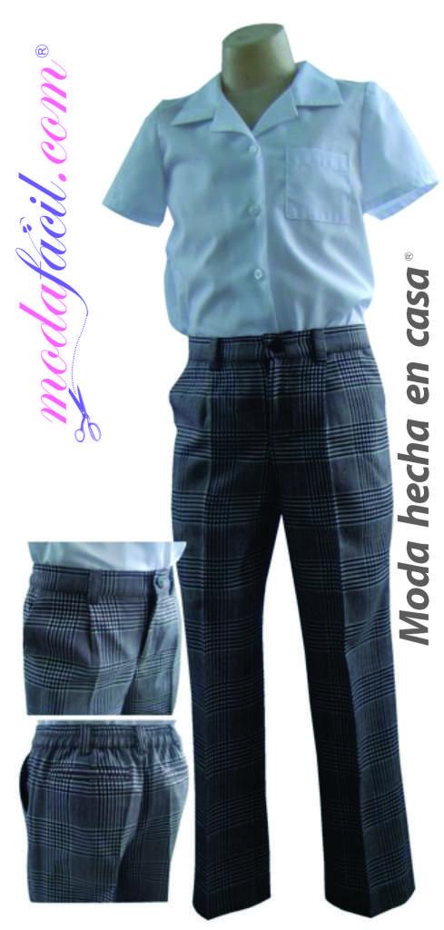 Patron de Costura de un Pantalon de Uniforme Escolar de Ninos Modelo NI4011P