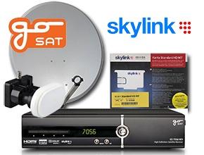 Satelitní komplet určený pro 1 TV obsahuje satelitní přijímač GoSAT 7056, který umožňuje příjem vysokého (HD)