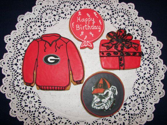 Georgia Bulldog Birthday Cookies by ruthiescookies on Etsy, $52.50