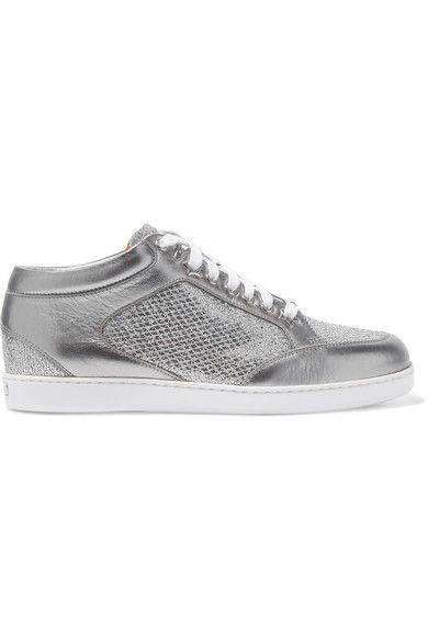 582644de3b6e Jimmy Choo - Miami Glittered And Metallic Leather Sneakers - Silver ...