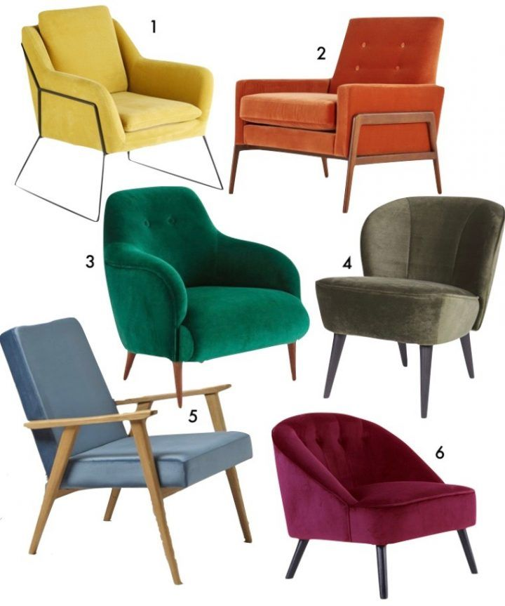 Captivant Fauteuil Velours Multicolore Orange Jaune Moutarde Vert Bleu Bordeaux Deco  Vintage Pour Salon Blog Clem Around