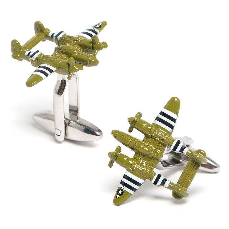 Army Green P38 Lightning Aircraft Cufflinks, Military Cufflinks from Cufflinksman