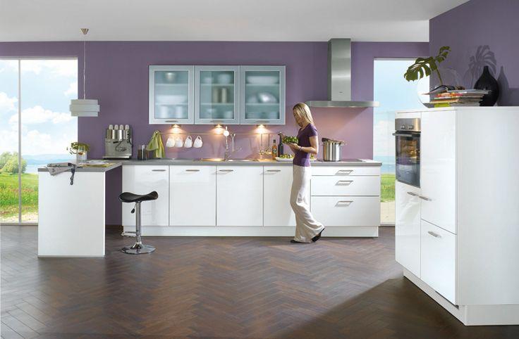 XENIA BLANC - Witte keuken met front MDF met oppervlak in glanzende acryl, achterkant wit, dikkant op 4 kanten | Meubelen Crack