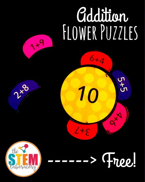 FREE Addition Flower Puzzles! Fun addition game for kids. This would be a perfect math center for kindergarten or early first grade.