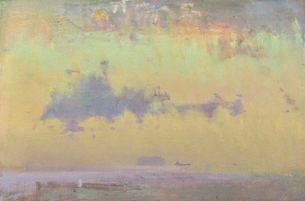 Spooky Sky, Steepholm FRED CUMING RA Oil on board 8 x 12 inches