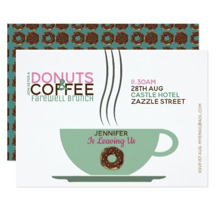 COFFEE DONUTS Farewell Brunch Invitation Pink Turq - giftidea gift present idea number thirty thirtieth bday birthday 30thbirthday party anniversary 30th