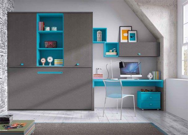 Habitación con cama abatible y armario superior