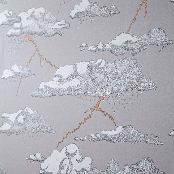 Dramatic wallpaper featuring intricately drawn grey storm clouds & flashes…