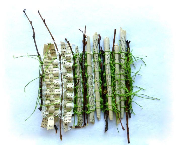Gewebte Geschichte mit Zweigen - Ines Seidel