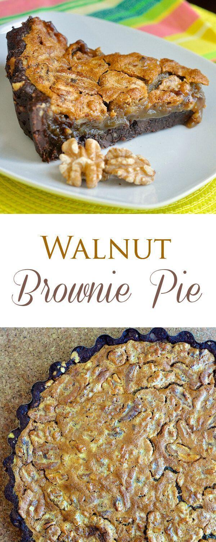 Walnut Brownie Pie - think fudge brownie meets pecan pie! Brownie cookie crust with a sweet caramel flavored filling & crunchy toasted walnuts. Fantastic!