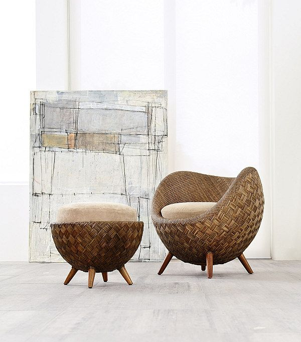Designed by Kenneth Cobonpue for Modern Interiors, the La Luna chair and ottoman -- inspired by the shape of the moon in the night sky --  are crafted from jute and rattan.  You can enjoy them on your patio or pool deck (Ck to see if ithat's true.  from: Trendir) ]