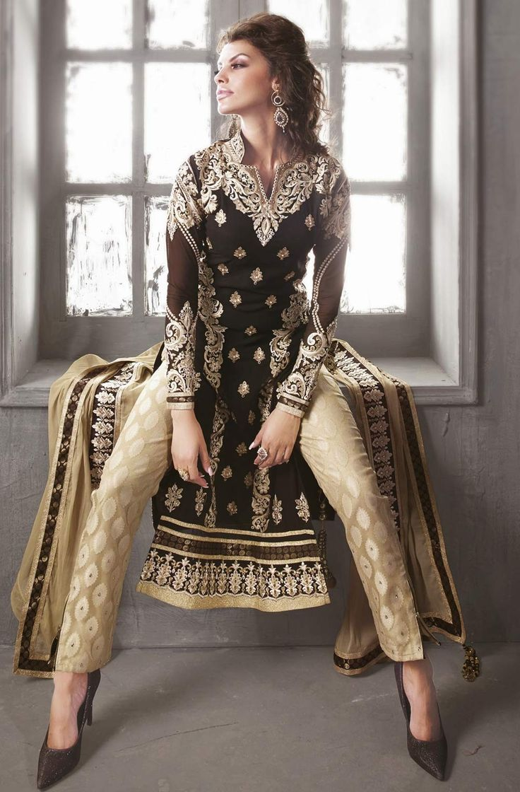 Pant Style Anarkali Dress Beige & Black GF7140228