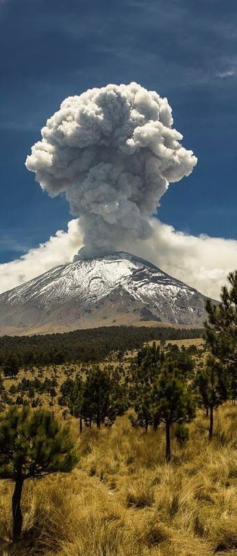 Popocatépetl volcano in Puebla, Mexico, erupting.