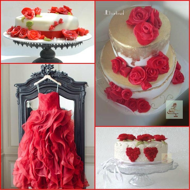 red weddingcakes JEtaarten rode bruidstaarten JEtaarten