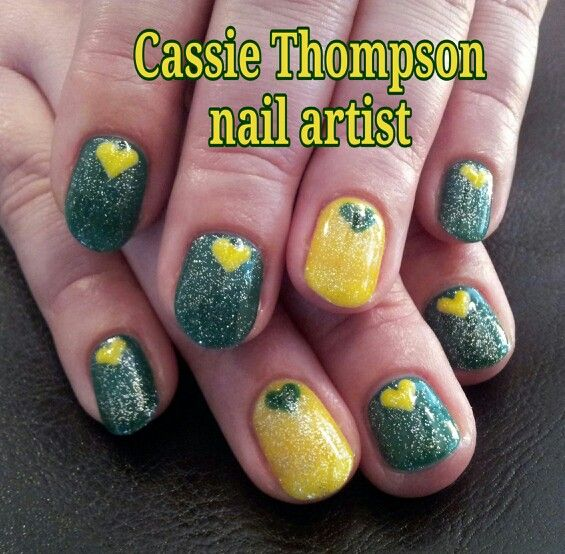 Yellow and green Oregon Ducks inspired gel mani - nail art by Cassie Thompson nail artist of Vancouver WA. Follow me on Instagram @cassietnailartist