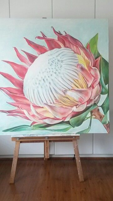 Protea. Oil on canvas by Molawrenson. Artist  https://m.facebook.com/profile.php?id=215901201804597