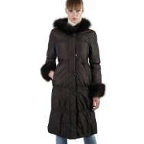 BGSD Women's Thinsulate Filled Hooded Long Coat with Fox Fur Trim in Black or Chocolate