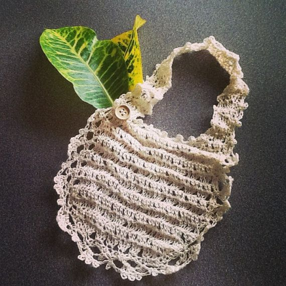 Handmade linen crochet baby bib white  Great for gift by LOLAsHome, $12.00