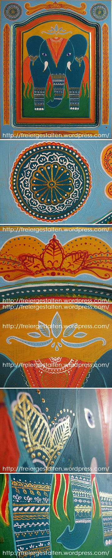http://freiergestalten.wordpress.com/  One door of my kitchen cupboard. Bollywood, kitsch, Mhendi, oriental, pianted furniture.