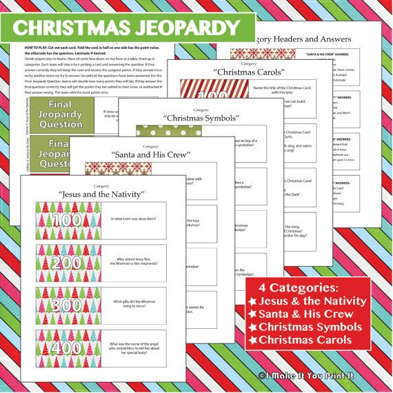 Printable Christmas Games for a Crowd. Christmas Jeopardy