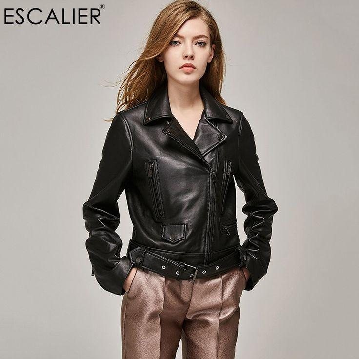 Wholesale prices US $109.99  ESCALIEA Genuine Leather Jacket Women Classic Female Jacket Sashes Style Women Turn-down Collar Sheepskin Coat   . Available latest products: Black Lether Jacket.