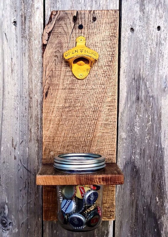 Mason Jar Decor Wall Mount Bottle Opener by ShineBoxPrimitives