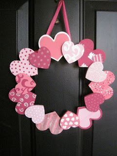 These are wooden hearts, but card stock would also work!  Cute Valentine's Day craft!