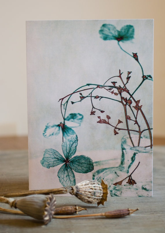 Floral blank greetings /notecard   Faded by PaperSnapdragon, £2.00