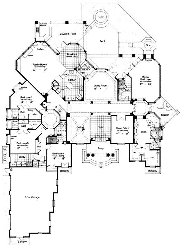 First floor plan of florida luxury mediterranean house for Florida blueprint