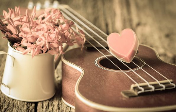 Wallpaper Vintage Love Heart Romantic Heart Guitar