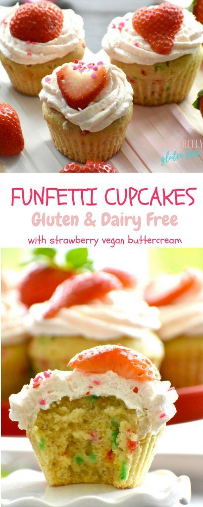 These Funfetti Cupcakes with Strawberry Buttercream that are Gluten Free and Dairy Free taste absolutely amazing. They are perfect for Valentines Day or a Birthday. Everyone will love them! The fluffy strawberry buttercream is literally the icing on the cake. No one will know they are gluten free and dairy free.