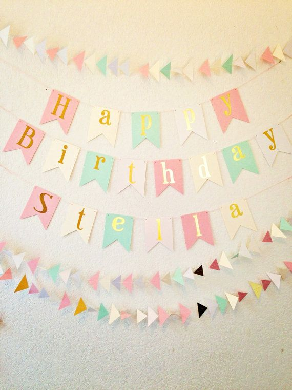 Happy Birthday Banner - Gold Foil Birthday Banner- Pink Ivory Mint and White