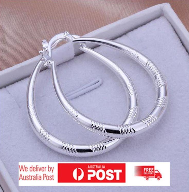 Hoop Earring 925 Sterling Silver Plated Pattern Fashion Women Earrings Beauty
